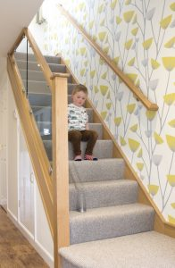 Playing on a small staircase