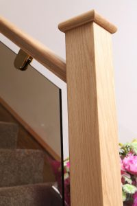 tinted glass panels in oak staircase