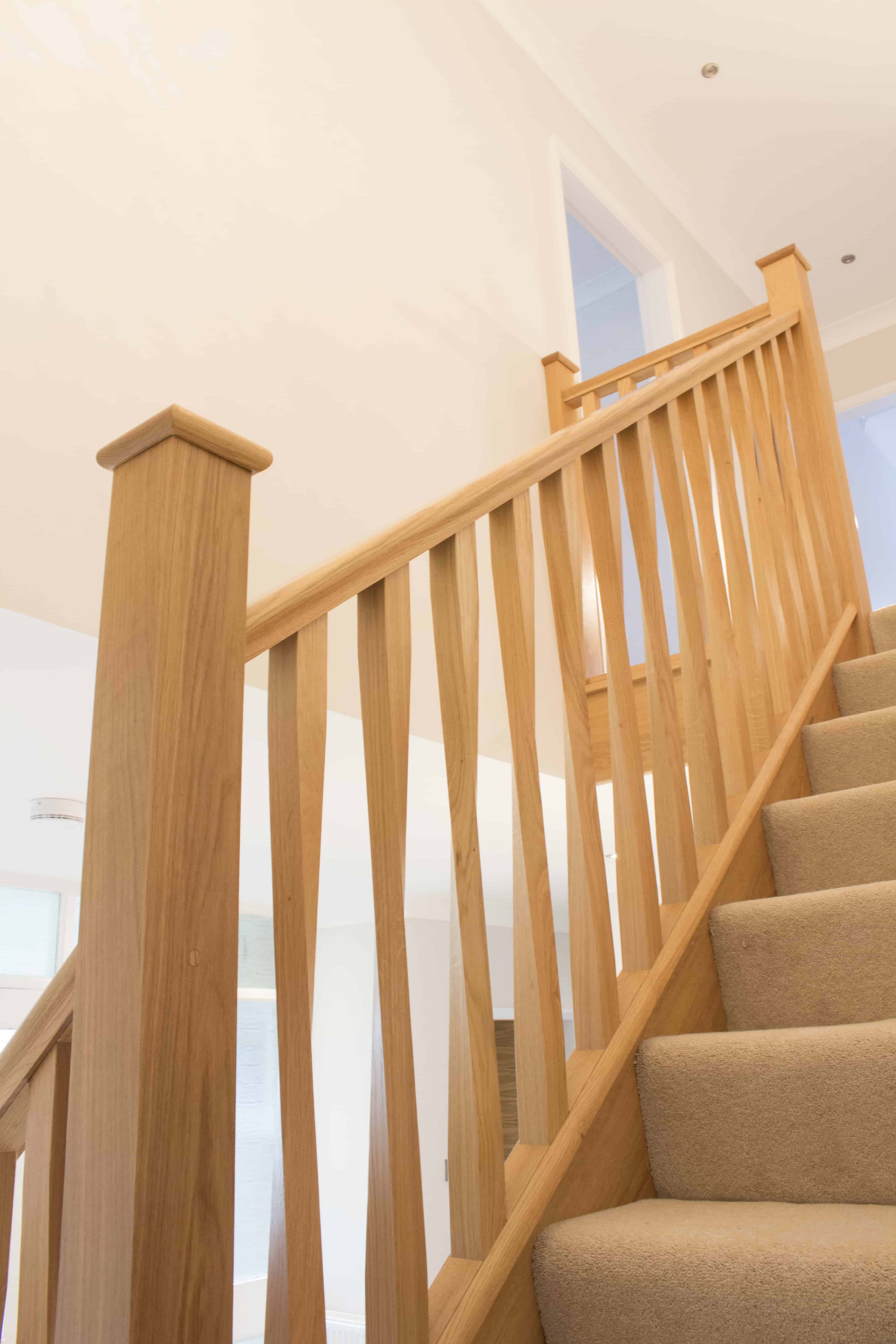Staircase Regulations Uk >> Case Study: New oak flight with modern twisted spindles